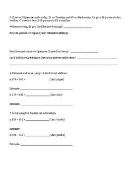 4th Grade Everyday Mathematics / EDM (4) / Math Unit 1 Test Review and Key