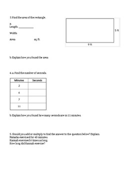 4th Grade Everyday Mathematics / EDM (4) / Math Unit 2 Test Review and Key