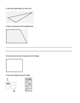 4th Grade Everyday Mathematics / EDM (4) / Math Unit 2 Test Review and Key