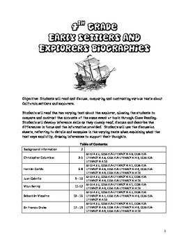 4th Grade Explorers Reading Packet - Common Core Aligned