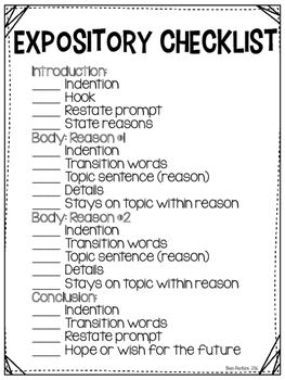 4th Grade Expository Writing Outline and Checklist