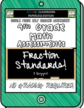 4th Grade FRACTIONS Math Assessments for Google Classroom