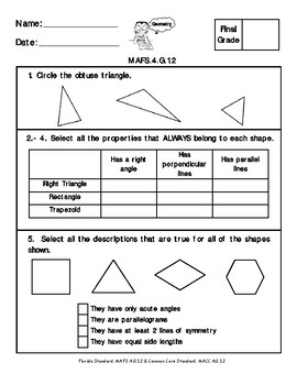 4th Grade FSA Math Assessment- MAFS.4.G.1.2