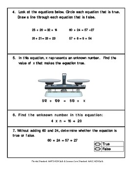 4th Grade FSA Math Assessment- MAFS.4.O.1a/b