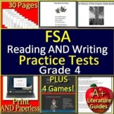 4th Grade FSA Test Prep Reading + Writing Practice Tests and Games SELF-GRADING!