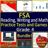 4th Grade FSA Test Prep Reading, Writing, and Math SELF-GRADING TESTS & Games