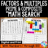 4th Grade Factors and Multiples, Prime and Composite Numbers Math Search 4.OA.4