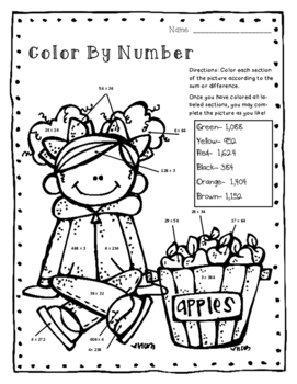4th Grade Fall/Autumn NO PREP Riddles & Color By Number