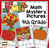 4th Grade Fall Math Mystery Pictures: Fall Color By Number