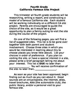 4th Grade Famous California Site Project
