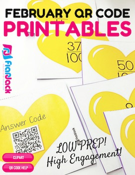 4th Grade February QR Code Printables - Low Prep!