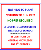 First Day of School 4th Grade (NO PREP) Fun Quiz with Lesson Plan