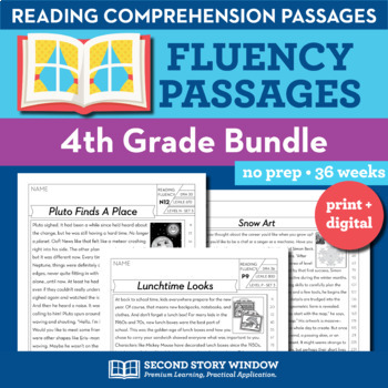 4th Grade Fluency Passages GROWING • Reading Comprehension Passages & Questions