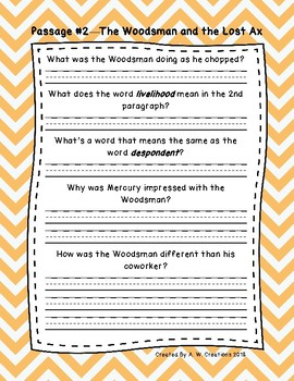 4th Grade Fluency Passages with Comprehension Questions FREEBIE