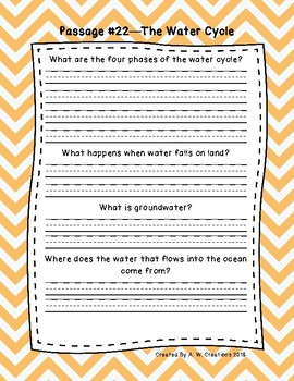 4th Grade Fluency Passages with Comprehension Questions Set C (#21-30)