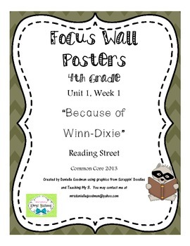 "4th Grade Focus Wall ""Because of Winn-Dixie"" Reading Street CC 2013"