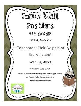 "4th Grade Focus Wall ""Encantado Pink Dolphin..."" Reading Street CC 2013"