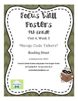 "4th Grade Focus Wall ""Navajo Code Talkers"" Reading Street CC 2013"