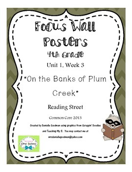 "4th Grade Focus Wall ""On the Banks of Plum Creek"" Reading Street CC 2013"