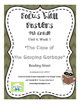"""4th Grade Focus Wall """"The Case of the Gasping Garbage"""" Rea"""
