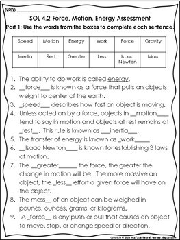 4th Grade Force, Energy, and Motion Assessment