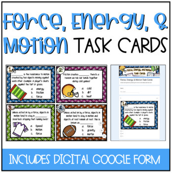 4th Grade Force, Energy, and Motion Task Cards