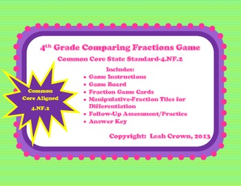 Comparing Fractions Math Station Game with Manipulative & Printable Practice