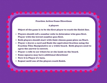 Equivalent Fractions Math Station Game with Manipulative & Printable Practice
