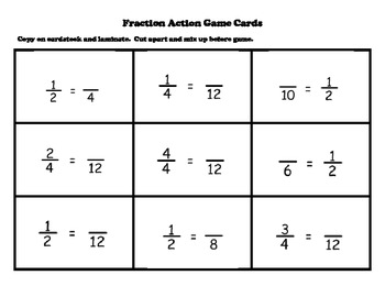 picture relating to Equivalent Fractions Games Printable referred to as Comparable Fractions Math Station Sport with Manipulative Printable Teach