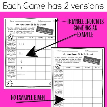 4th Grade Fraction Action  Math Centers - Dice Games for Fractions