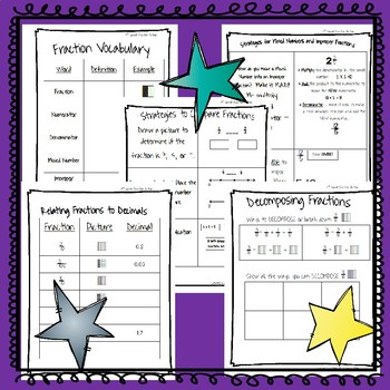 4th Grade Fraction Action Student Math Journal Pages