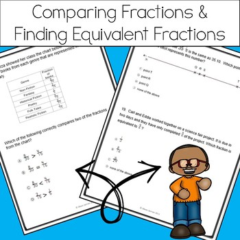 4th Grade Fraction Action Test Prep Practice - Aligned to STAAR and CCSS