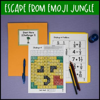 4th Grade Fraction Review Escape Room Escape from Emoji Jungle