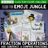 4th Grade Fraction Review Escape Room Escape from Emoji Jungle