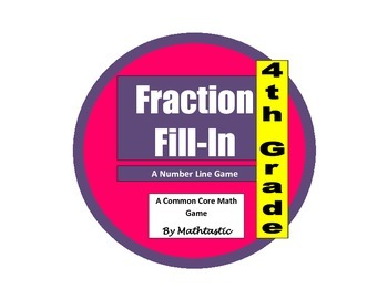 4th Grade Fraction Number Line Fill-In Fraction Equivalence Game for Common Core