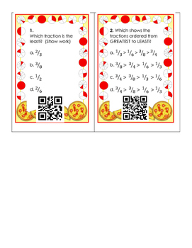 4th Grade Fraction QR Task Cards with Unlike Denominators