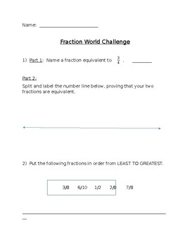 4th Grade Fraction Review Challenge