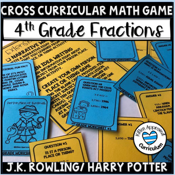 4th Grade Fraction Review Game Task Cards JK Rowling Biography