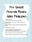 4th Grade Fraction Review - Word Problems -