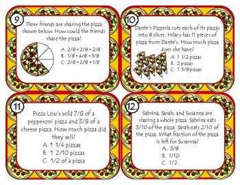 Fraction Task Cards - Pizza Themed