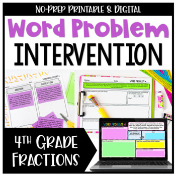 4th Grade Fraction Word Problems {No Prep Intervention}