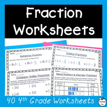 4th Grade Fraction Worksheets Pack ~ All NF Standards ~ No Prep!