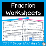 4th Grade Fraction Worksheets Pack ~ All NF Standards ~ No Prep!