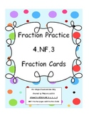 4th Grade Fraction Worksheets and Center Cards Common Core 4.NF.3 a, b, c, d