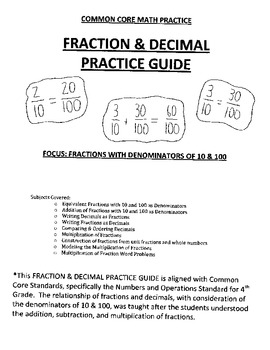 4th Grade - Fraction and Decimal Practice Guide