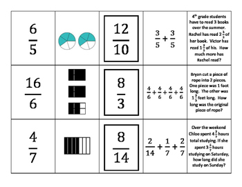 4th Grade Fractions Card Sort
