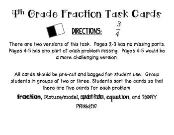 4th Grade Fractions Card Sort