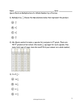 4th Grade Fractions: Ordering and Operations Quick Checks