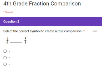 4th Grade Fractions Google Forms Assessments 3 Quick Checks
