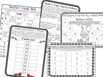 4th Grade Fractions & Mixed Numbers Center Games Add Subtract Multiply Compare
